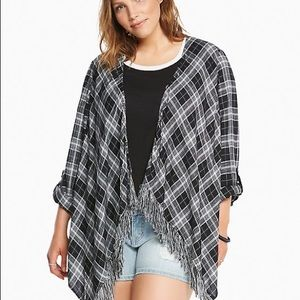 Torrid | black and white plaid fringe kimono